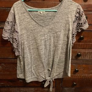 Maurices short sleeve gray tie shirt